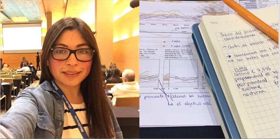 Javiera en el Symposium de Bombas de Insulina y Monitoreo Continuo.