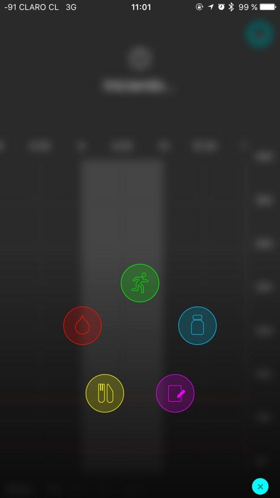 iconos para registrar distintos eventos.