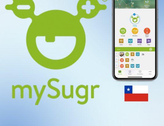logo de la aplicación mySugr con una pantalla de teléfono móvil